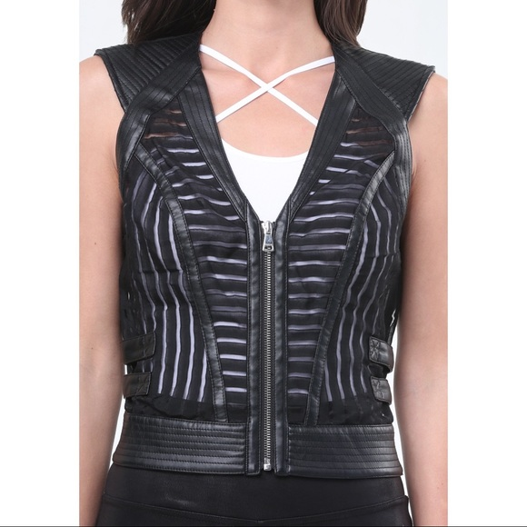 Bebe MIA Faux Leather Sheer Chevron Stripe Vest